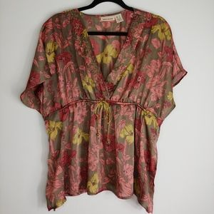 DKNY Taupe Floral Top